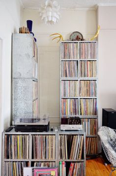 With Way Basics Stackable Blox Cubes, you can similarly organize your vinyl records. Only $35 each: http://www.waybasics.com/shop/s/record_album_storage.html