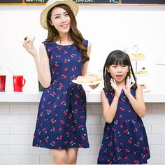 9daf3e2b7cc Girl Dress Baby Clothes Casual Summer Matching Mother Daughter Dresses Plus  Size Lady Cherry Print Cotton Family Clothing