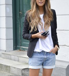 The Denim Short For Summer - White shirt, black blazer and denim shorts #womenswear #summer #outfit #style #denim #chic