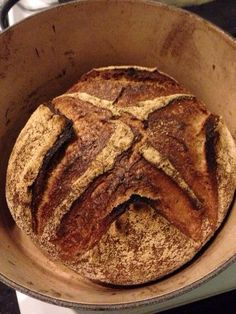 Whole wheat miche by Jeremy Shapiro ([@]stirthepots), pinned with his permission.