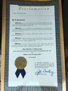 CINCINNATI, OH - Mayoral proclamation recognizing Diaper Need Awareness Week (Sept 25-Oct 1, 2017) #DiaperNeed DiaperNeed.org