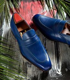 Handmade Men blue color leather Shoes, Men blue formal shoes, leather moccasins sold by Bishoo. Shop more products from Bishoo on Storenvy, the home of independent small businesses all over the world. Suede Leather Shoes, Leather Moccasins, Leather Slip Ons, Leather Men, Soft Leather, Calf Leather, Leather Jacket, Leather Sandals, Loafer Shoes
