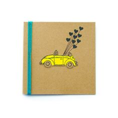 Happy Birthday Volkswagen Punch Bug Card by TheHappyCanary on Etsy