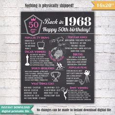 1968 - 50e anniversaire tableau signe affiche - INSTANT DOWNLOAD - notre signe d'anniversaire de tableau est rempli de faits, événements et amusant friandises de 1968. C'est un plaisir super souvenir et fait un cadeau vraiment spécial ou une décoration de fête. Tout simplement imprimer