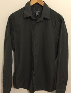H&M Men's Dark Green Easy Iron Slim Fit Dress Shirt Size Medium Neck 15 3/4 #HM