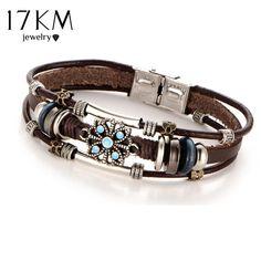 Vintage Flower Bracelets & Bangle Boho Multiple Layers Leather Bracelet Handmade