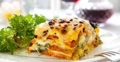 Sweet potato, roasted pumpkin and mushroom lasagne