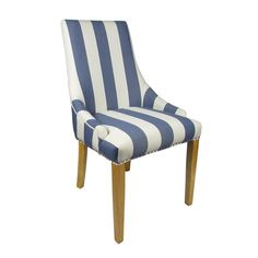 Collabo Stripe Chair (Pair) by Sherman is A fabulous design led chair offering flair to any room. It is also incredibly versatile - suitable as a dining chair - accent chair or boudoir chair. Seat is sprung and banded for additional comfort and support. Dining Table Chairs, Upholstered Dining Chairs, Dining Room Furniture, Furniture Making, Side Chairs, Dining Rooms, Nautical Home Decorating, Single Bunk Bed, Striped Chair