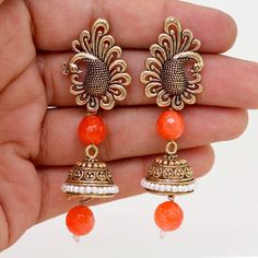 Traditional Indian Ethnic Desinger Gold Oxidised Dangle Jhumka Earring GSE267ORG