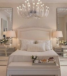 Lovely soft gray and ivory bedroom.