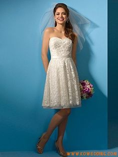 A-Line Strapless Natural Waist Short Pleated Wedding Dresses