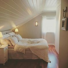 Blue Bedroom, Cozy Bedroom, Bedroom Inspo, Dream Bedroom, Master Bedroom, Slanted Ceiling Bedroom, Teen Decor, Home Decor Store, Awesome Bedrooms
