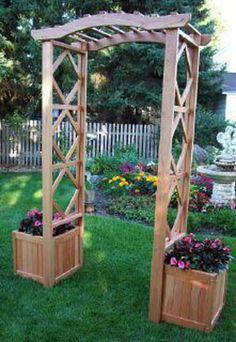 "Arbor (Spanish Cedar only)  shown w/ 2 17"" Planter Boxes"