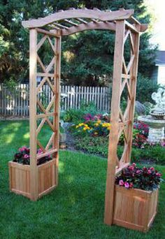 "Arbor (Spanish Cedar only)  shown w/ 2 17"" Planter Boxes"