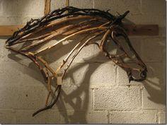 VPC show 037 Driftwood Sculpture, Horse Sculpture, Driftwood Art, Ribbon Sculpture, Driftwood Projects, Equestrian Decor, Horse Art, Horse Head, Horse Crafts