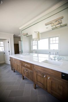 Andrea May Hunter Gatherer: Amazing modern bathroom with coffee stained double bathroom vanity, white quartz ...