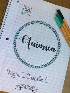#portada #portadadecuadernos #cuadernos #quimica #coverpage #books #bookcovers #chemistry Notebook Art, Notebook Covers, Lettering Tutorial, Hand Lettering, School Notebooks, Bullet Journal School, Cute Notes, Decorate Notebook, School Notes
