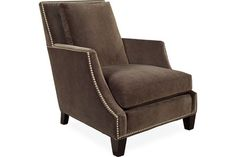 Similar lines as the Macy's chair with cut-away arms and taller back - Lee Industries 3423-01 Chair; can customize thru Lee; don't have to have nailheads