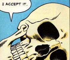 "Pop art skull, ""I Accept It"", Death. Memento Mori, Arte Horror, Horror Art, Art Pop, Comic Books Art, Comic Art, Pop Art Vintage, The Wicked The Divine, Comic Kunst"