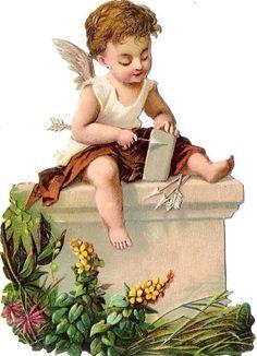 Oblaten Glanzbild scrap die cut chromo Engel angel Amor cupid  Pfeil