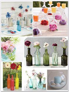 Weinflaschen Vasen Tisch Blumengestecke Ideen