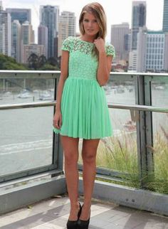 Green Party Dress - Green Embroidered Lace Top Dress