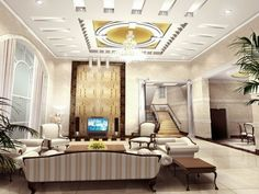 Luxury copper white pop ceiling designs for small living room with LCD