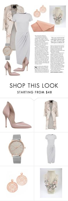 """Business Inside Party Outside"" by ajakins ❤ liked on Polyvore featuring Kurt Geiger, River Island, Vince Camuto, Iris & Ink, Bronzallure and floralprint"