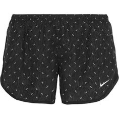 Nike Dry Tempo mesh-trimmed printed shell shorts ($45) ❤ liked on Polyvore featuring activewear, activewear shorts, sportswear, black, nike sportswear, nike and nike activewear