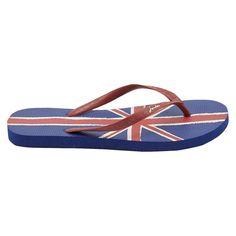 Women's Joules British Flag Flip Flop Sandals - Navy (Blue)