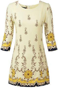 Apricot Round Neck Vintage Floral Dress US$29.67