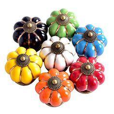 ASIMOON 7pcs Multicolor Ceramic Pumpkin Cabinet Knobs with Screws Drawer Knobs Pulls Handles Kids Furniture Decorative for Cabinet Drawer Dresser Cupboard Wardrobe Door ** Check out this great product.Note:It is affiliate link to Amazon.