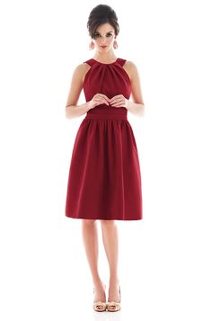 Alfred Sung D492 A good Barcelona Dark Red Color Bridesmaid Dress | Weddington Way