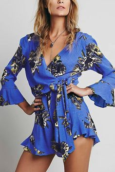 Blue Bohemian Floral Print Wrap Over V Neck Long Sleeve Playsuit