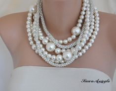 FREE SHIPPING  Bridal Bold Chunky Ivory Pearl Necklace with Rhinestone chain