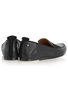 Slight heel Black textured-leather Slip on Made in Italy