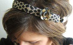 Headband tissé / bijou de tête tissé / bandeau cheveux / serre tête  motif géométrique en perles de rocailles Miyuki de 2mm et fleur fimo de la boutique EmmashopCreations sur Etsy