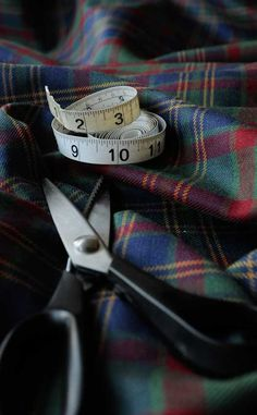 Tartan Fabric about to be measured for a kilt.