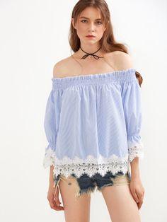 Top a rayas con hombros al aire ribete croché - azul -Spanish SheIn(Sheinside)