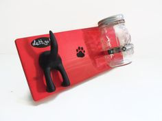 Single tail dog leash holder and treat jar on by BloominHappy1, $22.00