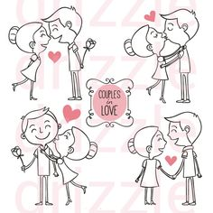 Hand drawn couples in love Free Vector San Valentin Vector, Couple Drawings, Stick Figures, Love Is Free, Couples In Love, Love Design, Zentangles, Happy Valentines Day, Valentine Doodle