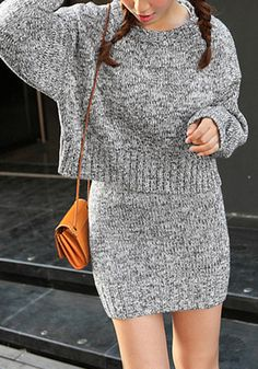 Co-Ord Sets to Be Treasured - This grey melange knit skirt set comes in a sexy crop sweater, which has a nice little crew neckline, and a knit mini skirt with comfy elastic waist. Knit Skirt, Knit Dress, Skirt Patterns Sewing, Skirt Sewing, Crochet Wool, Clothes Crafts, Knitting Designs, Handmade Clothes, Crochet Clothes