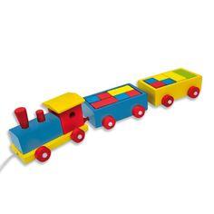 VEHI504.01.Tren de madera de arrastre de juguete para niños con construcciones de madera a todo color