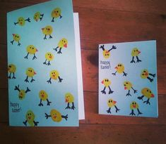Easter Ideas - Wow what a good Idea. I love these thumb print chick Easter cards so much. You could get your kids to make a batch of these to send them to your loved ones at Easter.
