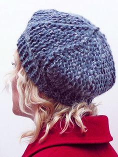 Free hat knitting pattern, worked lengthways on regular needles, rather than using circular needles