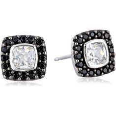 Sterling Silver Two-Tone Black Spinel and White Cubic Zirconia Cushion... ($15) ❤ liked on Polyvore featuring jewelry, earrings, two tone earrings, white jewelry, cubic zirconia earrings, cz jewellery and cushion cut stud earrings
