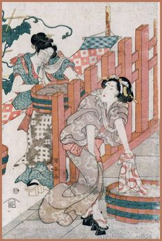 Edo - the EDOPEDIA -: sentaku washing in Edo Japanese History, Japanese Culture, Hamamatsu, The Goodwill, Bamboo Poles, Traditional Kimono, Wooden Plates, Japanese Architecture, Famous Places