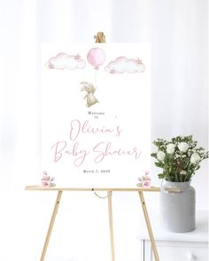 Bunny Baby Shower Welcome Sign Baby Welcome Sign Pink Baby Shower Decor Welcome Shower Sign Printable Bunny Balloon Welcome Sign Pink Clouds by MintedDelights on Etsy Baby Shower Welcome Sign, Baby Shower Signs, Thing 1, Pink Clouds, Change Background, Elements Of Art, Baby Shower Decorations, Custom Design, Balloons