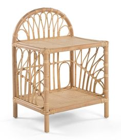 With its arch and unfurling flourish design, the KOUBOO Rattan Loop 2 Shelf Nightstand naturally feels like a dream to wake up to. But this pretty,. Liberty Furniture, Rattan Furniture, Bedroom Furniture, Furniture Design, Bohemian Furniture, Cane Furniture, Steel Furniture, Panel Headboard, Houses