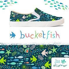 This is my ocean inspired bucketfeet entry with a mocked up pump. #bucketfeet #spoonflower #fish #handdrawnart #makeitindesign #illustration #surfacepatterndesign #repeatpattern #ocean by jill_oconnor